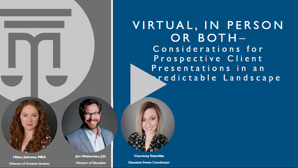 Virtual, In-person, Or Both - Considerations For Prospective Client Presentations In An Unpredictable Landscape
